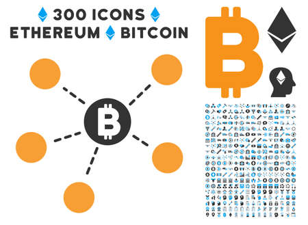Bitcoin Net Structure pictograph with 300 blockchain, bitcoin, ethereum, smart contract design elements. Vector pictograph collection style is flat iconic symbols. Illustration