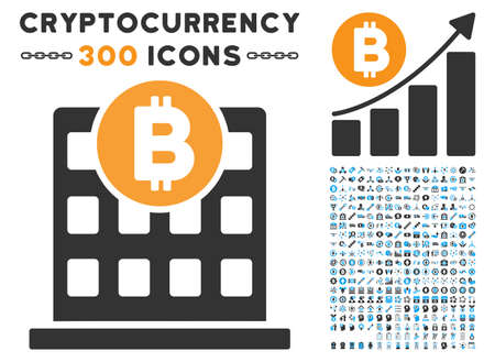 Bitcoin Office Building pictograph with 300 blockchain, bitcoin, ethereum, smart contract graphic icons. Vector clip art style is flat iconic symbols.