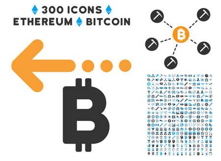 Bitcoin 返金戻って 300 blockchain、cryptocurrency、ethereum、スマート契約グラフィック アイコンと絵文字。ベクター アイコン セットのスタイルは、フラッ