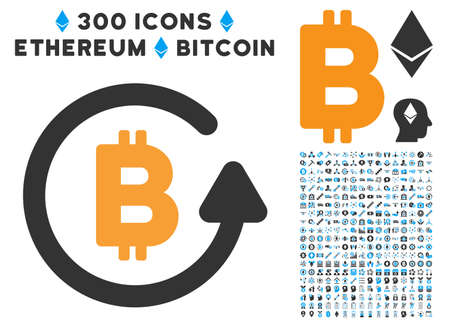 Bitcoin Refund pictograph with 300 blockchain, bitcoin, ethereum, smart contract design elements. Vector illustration style is flat iconic symbols.