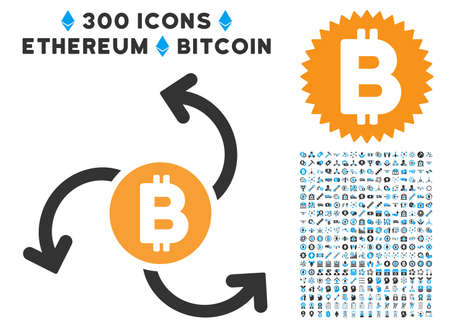 Bitcoin Source Swirl icon with 300 blockchain, bitcoin, ethereum, smart contract design elements. Vector icon set style is flat iconic symbols.
