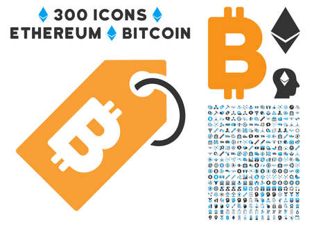 Bitcoin Tag icon with 300 blockchain, cryptocurrency, ethereum, smart contract images. Vector icon set style is flat iconic symbols.
