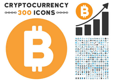 Bitcoin icon with 300 blockchain, bitcoin, ethereum, smart contract symbols. Vector illustration style is flat iconic symbols.