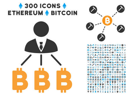 Businessman Bitcoin Expences icon with 300 blockchain, cryptocurrency, ethereum, smart contract pictograms. Vector pictograph collection style is flat iconic symbols.