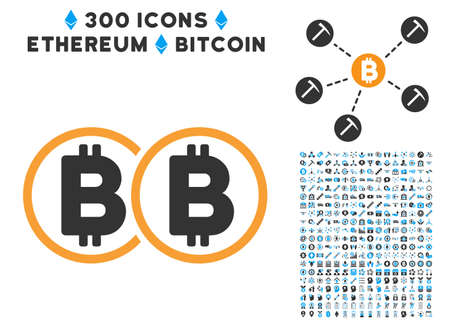 Double Bitcoin icon with 300 blockchain, cryptocurrency, ethereum, smart contract pictures. Vector illustration style is flat iconic symbols.