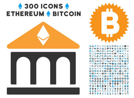 Ethereum Bank Building icon with 300 blockchain, cryptocurrency, ethereum, smart contract symbols. Vector clip art style is flat iconic symbols.