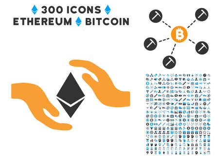 zafiro: Ethereum Care Hands icon with 300 blockchain, bitcoin, ethereum, smart contract graphic icons. Vector clip art style is flat iconic symbols.