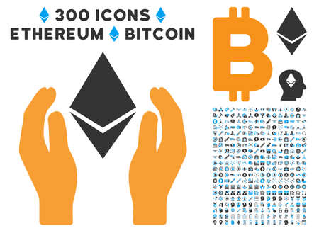 Ethereum Care Hands icon with 300 blockchain, cryptocurrency, ethereum, smart contract images. Vector clip art style is flat iconic symbols.