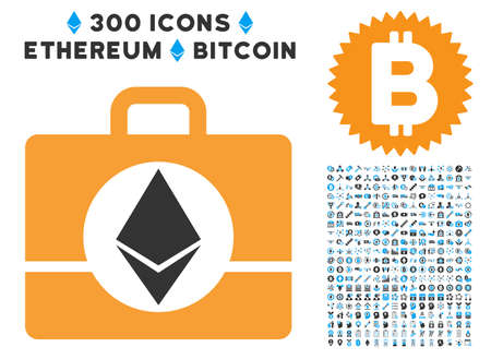 Ethereum Case pictograph with 300 blockchain, cryptocurrency, ethereum, smart contract pictograms. Vector illustration style is flat iconic symbols. Illustration