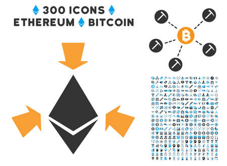 Ethereum Collect Arrows icon with 300 blockchain, cryptocurrency, ethereum, smart contract pictures. Vector icon set style is flat iconic symbols.