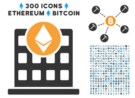 Ethereum Corporation Office pictograph with 300 blockchain, bitcoin, ethereum, smart contract pictograms. Vector illustration style is flat iconic symbols. Illustration