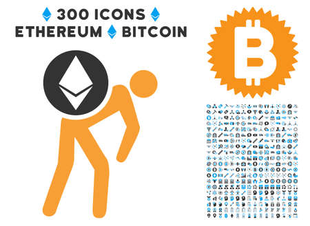 Ethereum Courier Person icon with 300 blockchain, bitcoin, ethereum, smart contract design elements. Vector illustration style is flat iconic symbols.