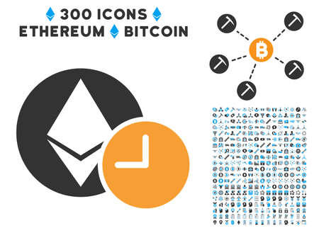 Ethereum Credit Clock pictograph with 300 blockchain, cryptocurrency, ethereum, smart contract images. Vector illustration style is flat iconic symbols.