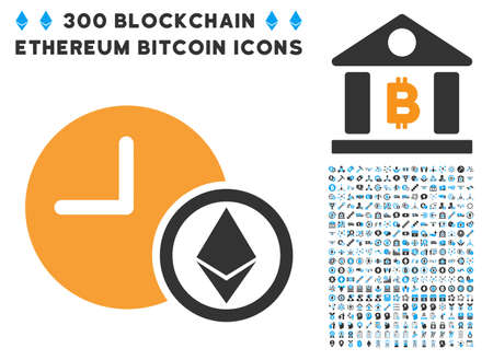 Ethereum Credit Clock pictograph with 300 blockchain, bitcoin, ethereum, smart contract design elements. Vector icon set style is flat iconic symbols.