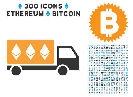 Ethereum delivery car pictograph with 300 blockchain, bitcoin, ethereum, smart contract design elements. Icon set style is flat iconic symbols. Illustration