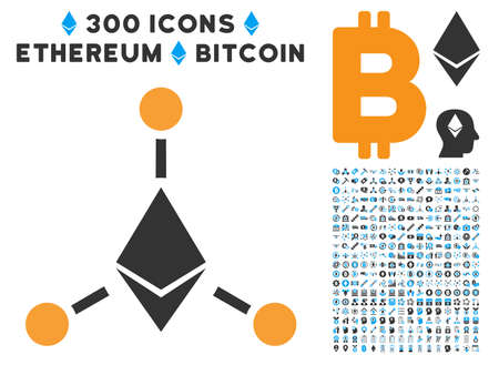 Ethereum links icon with 300 blockchain, cryptocurrency, ethereum, smart contract graphic icons. Icon set style is flat iconic symbols.