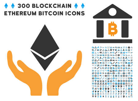 Ethereum Maintenance Hands pictograph with 300 blockchain, cryptocurrency, ethereum, smart contract symbols. Vector pictograph collection style is flat iconic symbols. Illustration