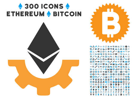 Ethereum Industry Gear pictograph with 300 blockchain, cryptocurrency, ethereum, smart contract images. Vector icon set style is flat iconic symbols. Illustration