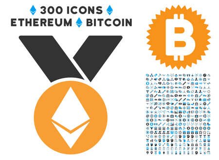 Ethereum Medal With Ribbons icon with 300 blockchain, bitcoin, ethereum, smart contract images. Vector clip art style is flat iconic symbols.