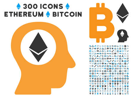 Ethereum Mind icon with 300 blockchain, cryptocurrency, ethereum, smart contract graphic icons. Vector pictograph collection style is flat iconic symbols.