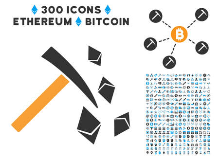 Ethereum Mining Hammer icon with 300 blockchain, bitcoin, ethereum, smart contract pictograms. Vector illustration style is flat iconic symbols. Illustration