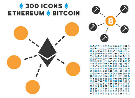 Ethereum Net Structure pictograph with 300 blockchain, bitcoin, ethereum, smart contract pictograms. Vector illustration style is flat iconic symbols.