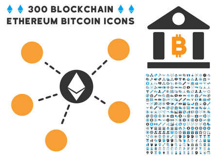 Ethereum Network icon with 300 blockchain, bitcoin, ethereum, smart contract design elements. Vector illustration style is flat iconic symbols.  イラスト・ベクター素材