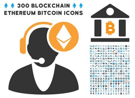 Ethereum Operator icon with 300 blockchain, bitcoin, ethereum, smart contract symbols. Vector icon set style is flat iconic symbols.