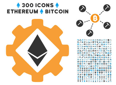 Ethereum Options Gear pictograph with 300 blockchain, cryptocurrency, ethereum, smart contract symbols. Illustration