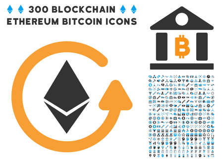 Ethereum Refund pictograph with 300 blockchain, bitcoin, ethereum, smart contract pictograms. Vector icon set style is flat iconic symbols.