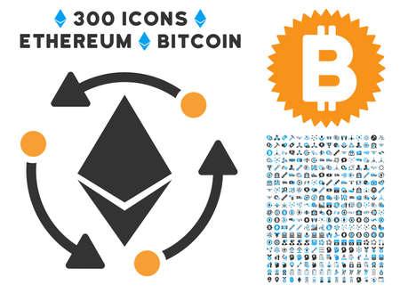 300 の blockchain、bitcoin、ethereum、スマート契約のイメージで Ethereum 回転アイコン。ベクトル絵文字コレクション スタイルは、フラットの象徴的なシン