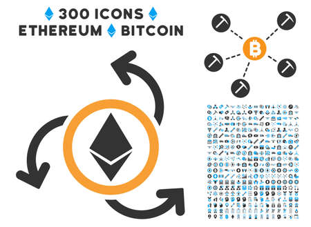 Ethereum Source Swirl icon with 300 blockchain, bitcoin, ethereum, smart contract pictograms. Vector clip art style is flat iconic symbols.