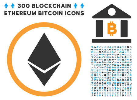 Ethereum Rounded pictograph with 300 blockchain, bitcoin, ethereum, smart contract pictograms. Vector clip art style is flat iconic symbols.
