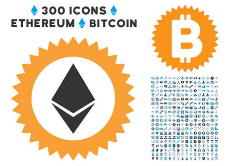 Ethereum Stamp Seal icon with 300 blockchain, bitcoin, ethereum, smart contract pictures. Vector illustration style is flat iconic symbols.