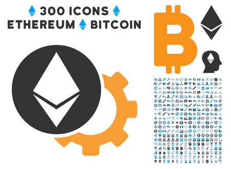 Ethereum Settings Gear icon with 300 blockchain, bitcoin, ethereum, smart contract graphic icons. Vector pictograph collection style is flat iconic symbols. Illustration