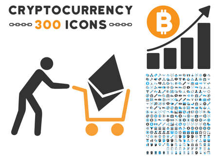 Ethereum Shopping Cart icon with 300 blockchain, cryptocurrency, ethereum, smart contract images. Vector pictograph collection style is flat iconic symbols.