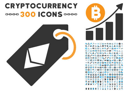 Ethereum Tag icon with 300 blockchain, cryptocurrency, ethereum, smart contract pictures. Vector illustration style is flat iconic symbols.