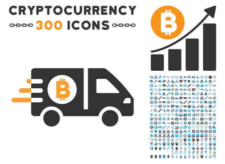 Fast Bitcoin Delivery Car pictograph with 300 blockchain, cryptocurrency, ethereum, smart contract graphic icons. Vector illustration style is flat iconic symbols.