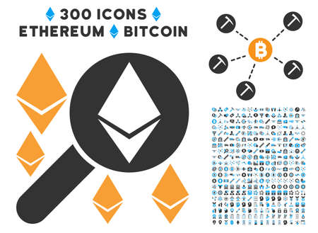 Loupe Search Ethereum icon with 300 blockchain, cryptocurrency, ethereum, smart contract pictograms. Vector clip art style is flat iconic symbols.