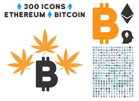Marijuana Bitcoin Business icon with 300 blockchain, bitcoin, ethereum, smart contract symbols. Vector pictograph collection style is flat iconic symbols.