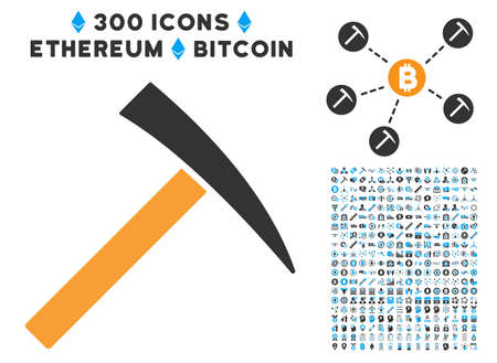 Mining Hammer icon with 300 blockchain, cryptocurrency, ethereum, smart contract pictures. Vector pictograph collection style is flat iconic symbols.