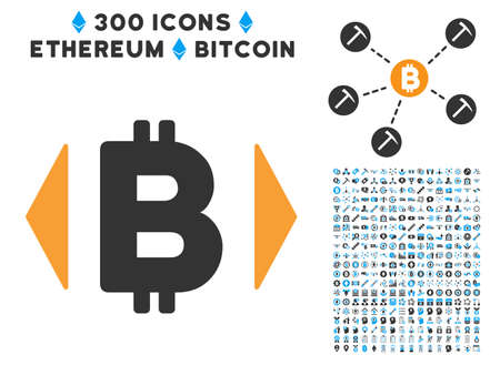 Regulate Bitcoin Price pictograph with 300 blockchain, bitcoin, ethereum, smart contract design elements. Vector pictograph collection style is flat iconic symbols.