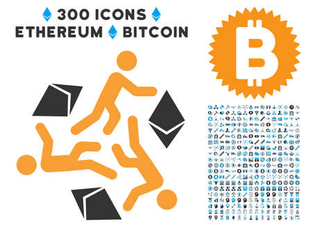 the miners: Running Persons For Ethereum icon with 300 blockchain, bitcoin, ethereum, smart contract pictures. Vector illustration style is flat iconic symbols. Illustration
