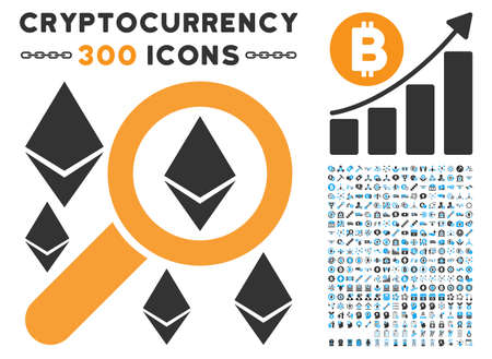 Search Ethereum pictograph with 300 blockchain, bitcoin, ethereum, smart contract design elements. Vector illustration style is flat iconic symbols.