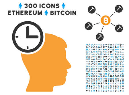 Time Management Head icon with 300 blockchain, bitcoin, ethereum, smart contract pictures. Vector clip art style is flat iconic symbols. Illustration