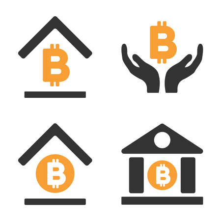 Bitcoin Banking vector icon set. Style is bicolor flat symbols.