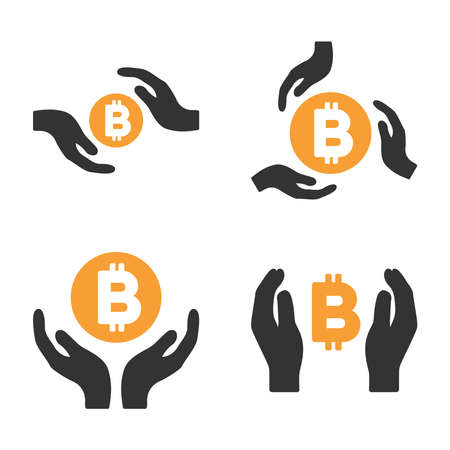 Bitcoin Care Hands vector icon set. Style is bicolor flat symbols. Illustration