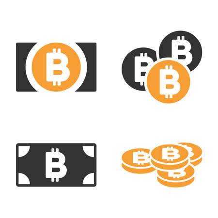 Bitcoin Cash vector icon set. Style is bicolor flat symbols. Ilustracja