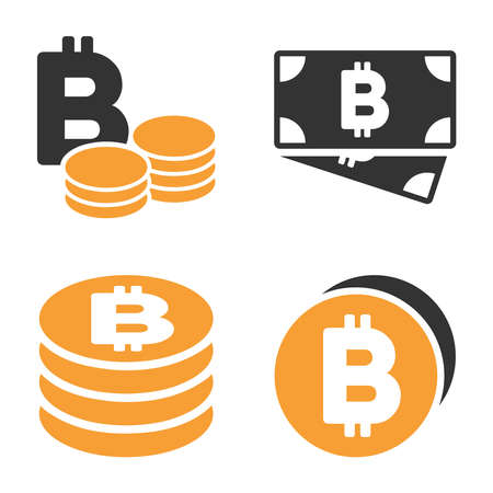 Bitcoin Cash vector icon set. Style is bicolor flat symbols. Illustration