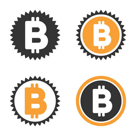 Bitcoin Coin vector icon set. Style is bicolor flat symbols.